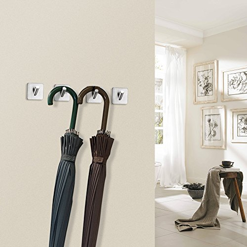 FOTYRIG Heavy Duty Adhesive Wall Hooks Hangers Stainless Steel Towel Hooks Stick On Home Bathroom Kitchen for Dog Leash, Umbrellas, Scarves, Towels, Robes, Bags, Coats, Keys, Calendars -4 Packs by FOTYRIG (Image #6)