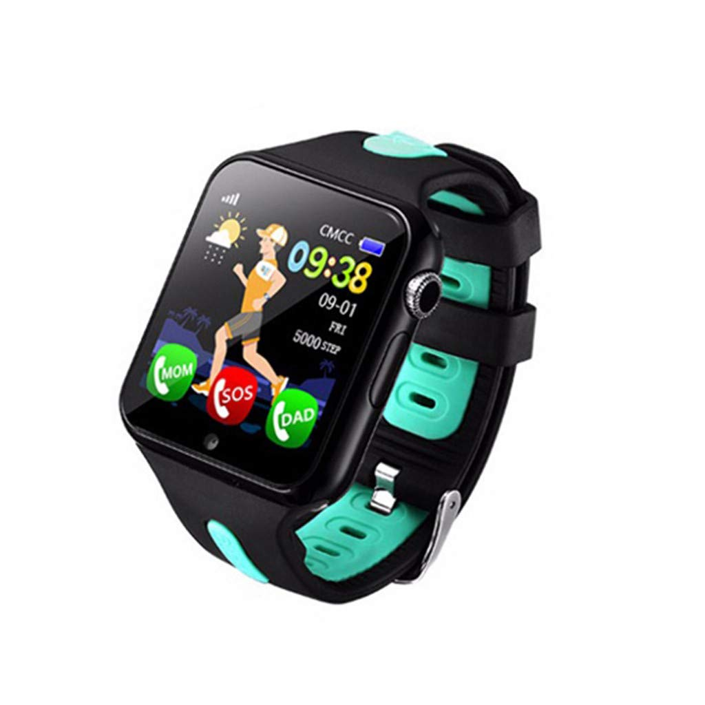 SGYH GPS Watch Phone for Kids, HD Color Screen Smartwatch Voice Smart Watches Safety Anti-Lost Waterproof Tracker for Children Girls Boys Phone Watch for Android iOS (Black+Green) by SGYH (Image #1)