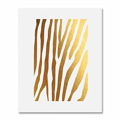 Zebra Print Gold Foil Decor Animal Print Metallic Wall Art Poster 8 inches x 10 inches