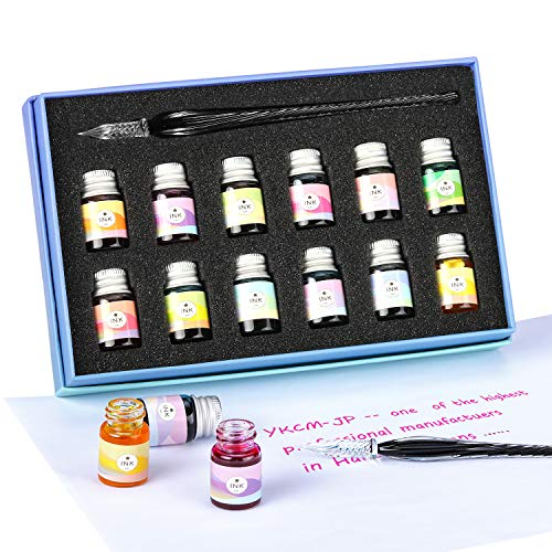Glass Dipped Pen Ink Set-Crystal Pen with 12 Colorful Inks for Art, Writing, Signatures, Calligraphy, Decoration, Gift ()
