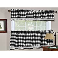 Sweet Home Collection Buffalo Check Gingham Kitchen Window Curtains Valance Set
