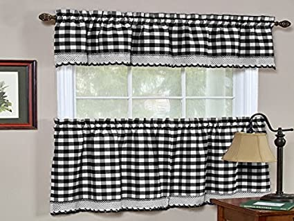 Sweet Home Collection Buffalo Check Gingham Kitchen Window Curtains Valance Set 24 Tier Black White