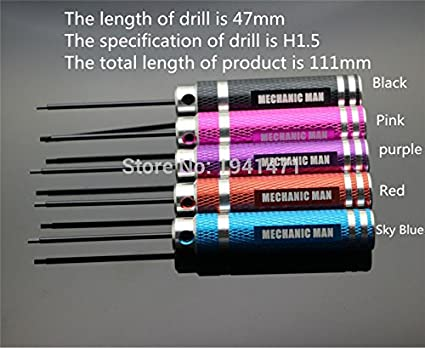 Color: Pink Occus Vehicles-OCS H1.5mm Hexagonal Screwdrivers Self-Made Parts Mini 4WD Tool for Installing and Removing Screw WD-J014 2Pcs//lot