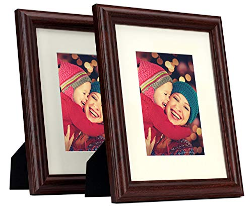 Set of 2, 8x10 Picture Frame - Fit 5x7 Photos with Ivory Color Mat - Curved Bevel Molding - Wall and Table Collage Frames - Real Glass - Color: Walnut (Walnut-Style) ()