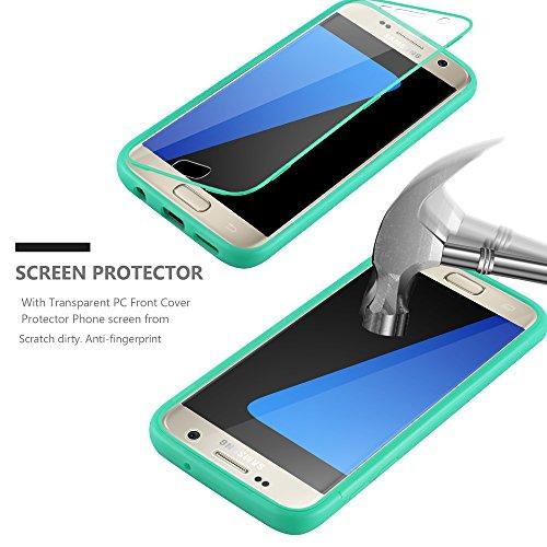 Cadorabo - Cubierta protectora para Samsung Galaxy S7 de silicona TPU Cuerpo Completo Full Body - Case Cover Funda Carcasa Protección en LILAS VERDE