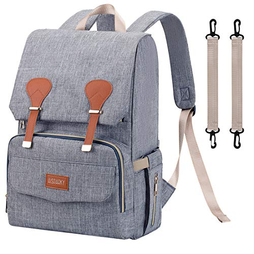 Diaper Bag Backpack, Large Baby Diaper Bag Organizer for Mother or Women, for Girls and Boys, Multi-Functional Waterproof Wide Open Travel Bag with Changing Pad, Insulated Pockets (Gray)