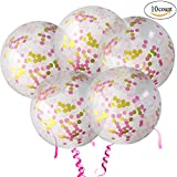 GuassLee 10pcs 18 Inch Pink Rose Gold Confetti Balloons Latex Balloon with Tassle - Decoration for Baby Shower Wedding Birthday Party Event Festivals Christmas Photo Shoot