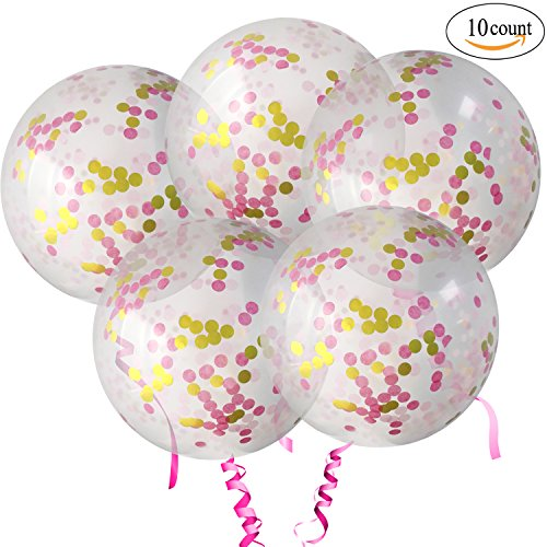 10pcs 18 Inch Pink Rose Gold Confetti Balloons Latex Balloon with Tassles - Decoration for Baby Shower Wedding Birthday Party Event Festivals Christmas Photo Shoot