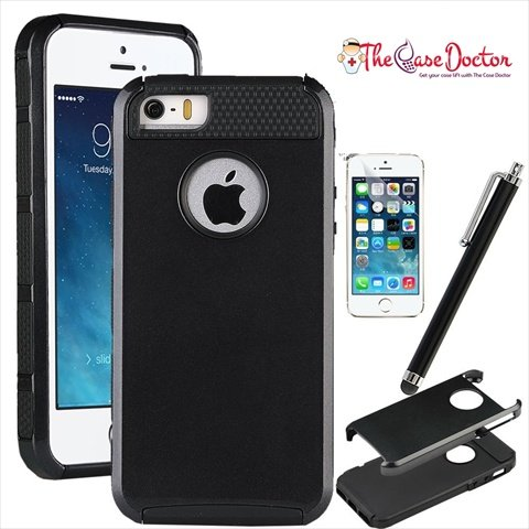 TCD for Apple iPhone 5 5S [BLACK] Hybrid Rugged Protective Defender Series Combo Case Cover Multiple Layers Shock Ultimate Protection [Includes FREE SCREEN PROTECTOR AND STYLUS PEN]