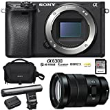 Sony ILCE-6300 a6300 4K Mirrorless Camera Body w/APS-C Sensor + E PZ 18-105mm f/4 G OSS Power Zoom Lens + Gun Zoom Microphone + 64GB Memory Card + Soft Carrying Case + Replacement Battery