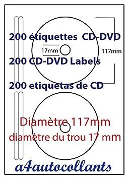 Top 200 Étiquettes CD-DVD - 100 Feuille a4 avec 2 étiquette en papier XQ92