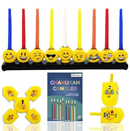 Emoji Menorah Set - INCLUDES: Hand Painted Ceramic Emoji Menorah, Yellow Emoji Fidget Spinner, 2 Yellow Emoji Hanukkah Dreidels, 45 Colored Candles For All 8 Nights Of Hanukkah!