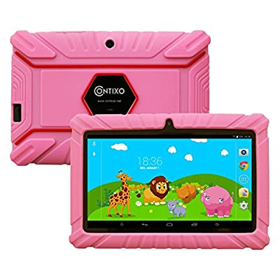 "Contixo Kids7"" Quad Core Android 4.4 Kitkat Multi-Touch Screen Tablet PC, HD Display 1GB RAM, 8GB Nand Flash, Dual Camera, WiFi, Kids Apps Pre-loaded, Google Play Pre-installed, 3D Game Supported"