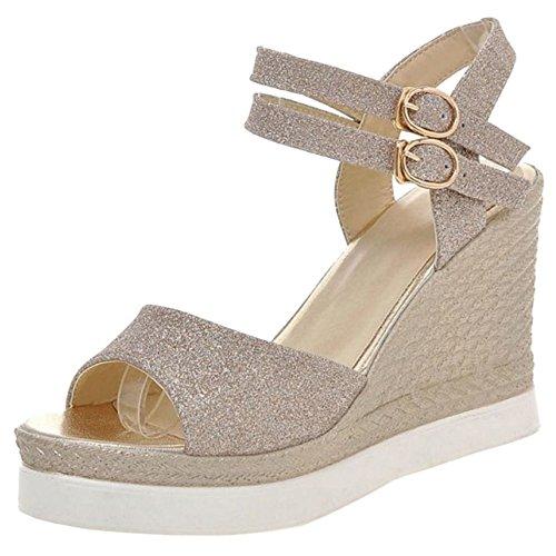 Femmes Chaussures Sangle de Gold Compensées Cheville TAOFFEN Peep Briller Sandales Toe T6dxwq