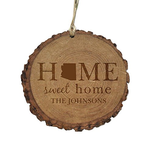 GiftsForYouNow Personalized Home Sweet Home Rustic Wood Ornament-Arizona, 4'' by GiftsForYouNow
