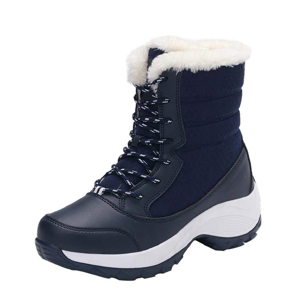 QUICKLYLY Botas De Nieve Mujer, Botines para Adulto, Zapatillas/Zapatos De Invierno Calzado Antideslizantes Impermeables para Tobillo Plataformas De Piel Gruesa