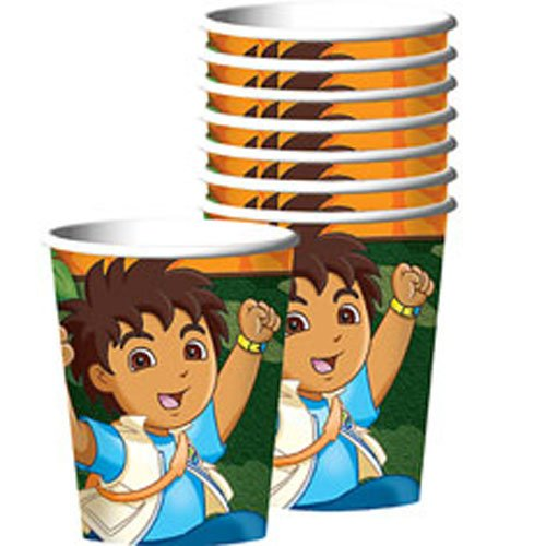 Amscan Festive Diego's Biggest Rescue Birthday Party Paper Cups (8 Piece), 9 oz, Multi