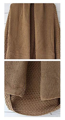 Forcella Khaki Vintage Giacca Pipistrello Aperto Ruvida Cappotto Autunno Outerwear Primaverile A Abbigliamento Colore Maglia Puro Elegante Manica Huixin Donna Fashion 6xHZFF