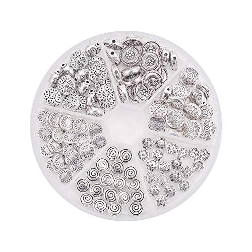 PH PandaHall 120pcs 6 Styles Antique Silver Tibetan Alloy Flat Round Spacer Beads Metal Spacers for Bracelet Necklace Jewelry Making(Star, Spiral, Flower, Flower, Rhombus)