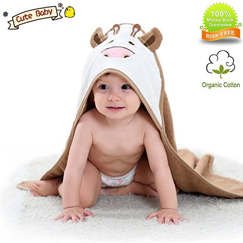 Organic Hooded Baby Towel Bathing Cotton Blanket Washcloth Luxury Soft Comfortable Long Cows for Newborns Infants Toddlers Kids Boys and Girls