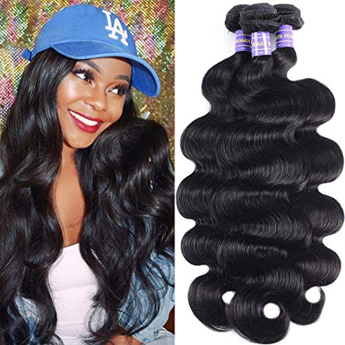 Jolia Hair 8A Brazilian Body Wave 3 Bundles 16 18 20inch 100% Raw Unprocessed Body Wave Hair Weft Natural Black Wavy Virgin Human Hair Weave Extensions (Best Remy Hair Extensions 2019)