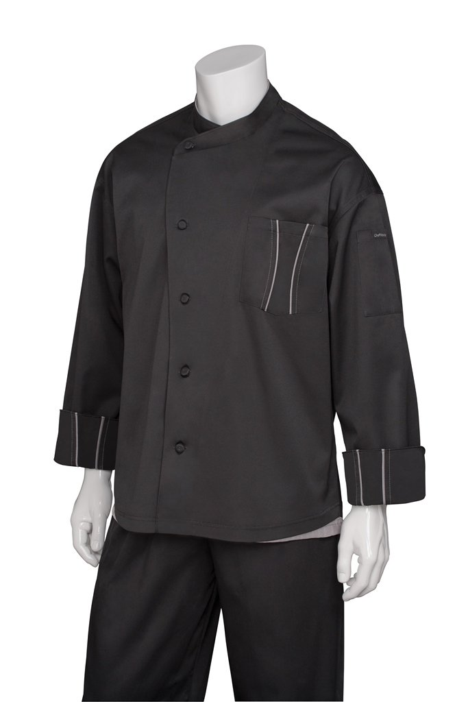 Chef Works Men's Amalfi Signature Series Chef Coat, Black, X-Large by Chef Works