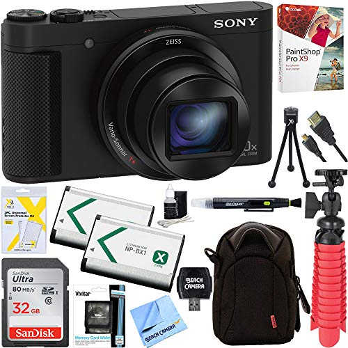 Sony Cyber-shot HX80 Compact Digital Camera with 30x Optical Zoom (Black) + 32GB SDHC Memory Dual Battery Kit + Accessory ()
