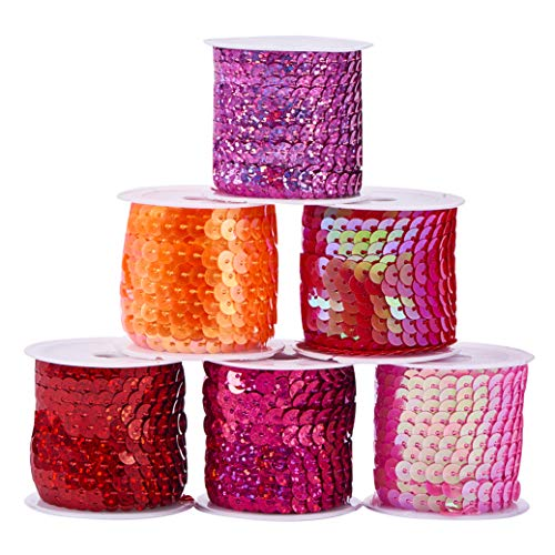 PH PandaHall 6mm (1/4 Inch) 6 Rolls 6 Color Spangle Flat Sequins Trim Paillette Spool String for Dress Embellish Headband (5m/ roll, Red Series)