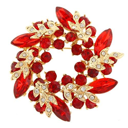 Mehool Pin Brooch Golden Tone Enamel With Red Crystal Rhinestones red