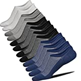 Mens No Show Low Cut Anti-Slide Casual Crew Ankle Mesh Knit Non Slip Grips Cotton Socks 6 Pack