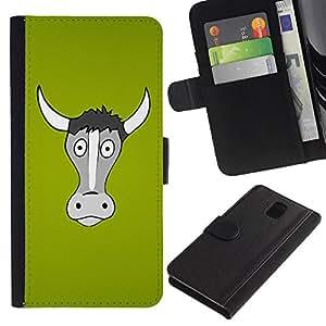 """Be-Star la tarjeta de Cr¨¦dito Slots PU Funda de cuero Monedero caso cubierta de piel Para Samsung Galaxy Note 3 III ( Vaca gris Retrato Verde Agricultura Animal"""" )"""