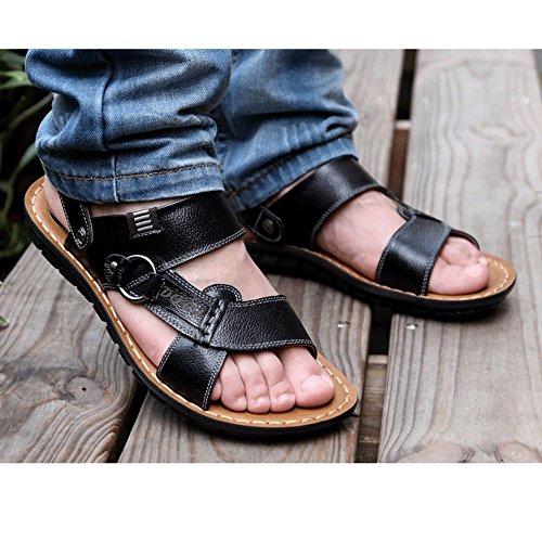 Zapatillas Nadar Transpirable Hombres Sandalias De De Toe Baño Viaje Ocasionales Para Playa Piscina Peep Cuero Zapatos Black De De qqf7AOB