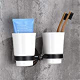 YEBCSKPXA Modern Style Wall-Mounted Solid Brass with Ceramic Cup Square Bathroom Double Tumbler Holders Black Cup Holder1