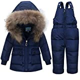 JELEUON Baby Girls and Boys Two Piece Winter Warm Hooded Zipper Fur Trim Snowsuit Puffer Down Jacket with Snow Ski Bib Pants Outfits 1-2 Years