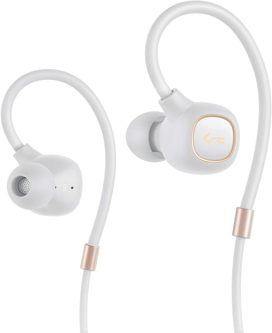AUKEY Wireless Headphones, Key Series Bluetooth 5 Earbuds with AptX Low Latency, Hi-Res Balanced Armature Driver, IPX6 Waterproof, Flexible Ear-Hook, USB-C Fast Charging and Bult-in Mic