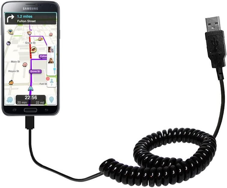 Gomadic USB Charging Data Coiled Cable designed for the Samsung Galaxy S5 Plus Will charge and data sync with one unique TipExchange enabled cable