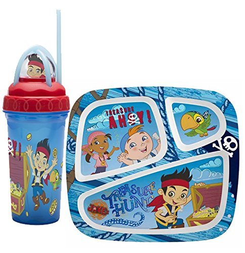 Disney Jr. Jake and the Neverland Pirates Divided Myplates for Kids - Teach Kids Healthy Eating Habits with Help From Their Favorite Pirates! Plus Bonus Jake Loopity Loop Tumbler -