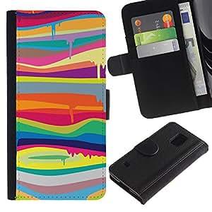 iKiki Tech / Cartera Funda Carcasa - Colors Psychedelic Art Painting - Samsung Galaxy S5 SM-G900