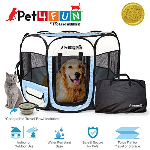 (PicassoTiles PET4FUN PN935/PN945 Portable Pet Puppy Dog Cat Playpen Crates Kennel w/Water Resistant 600D Oxford, 210D Nylon, Carrying Bag, Collapsible Bowl, Removable Mesh Cover 2 Sizes )