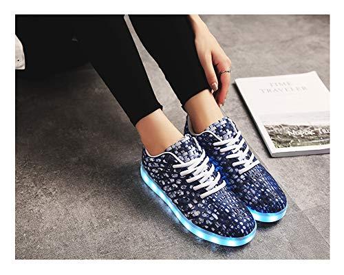 Shoes Partito per Ragazzi Donna Scarpe Corsa Casuale LED Sneaker USB Il di Ragazze Basse Uomo Scarpe Lampeggiante Mode Promenade Carica Giorno 7 Colori Adulto da Luci Unisex Baskets Colorato Glamour Blu da CqCUSZw
