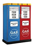 Furniture of America Rotella Gas Station Two-Door Metal Closet, Blue/Red