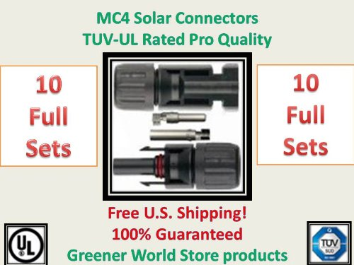 Solar Connectors for Photovoltaic Solar Panels with Mc4 Solar Connector in 10 Pack.