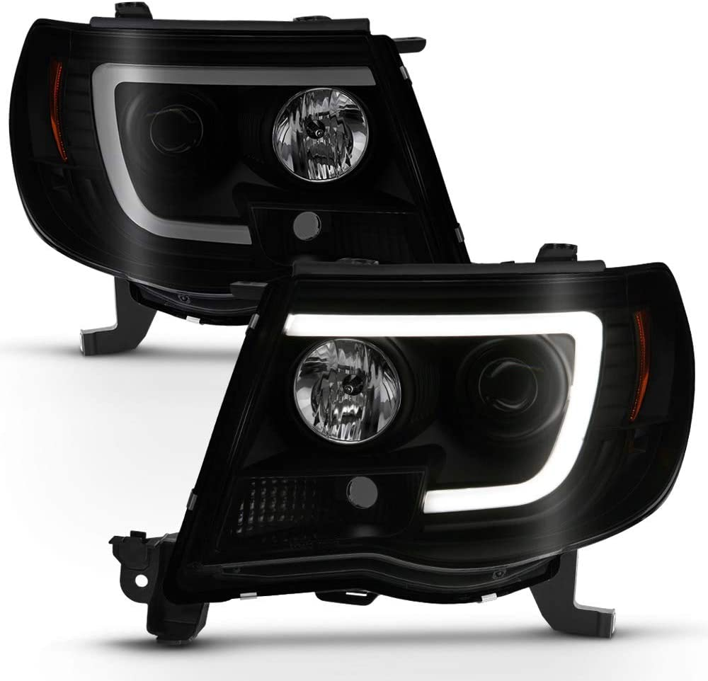 ACANII - For 2005-2011 Toyota Tacoma Pickup TRD Black Smoked LED Tube Projector Headlights Headlamps Assembly Left+Right