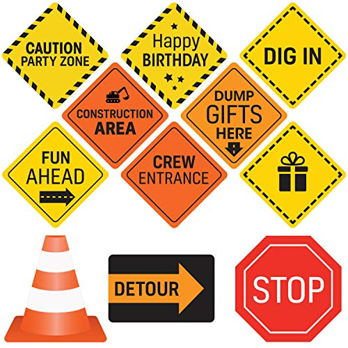 Construction Birthday Party Supplies Signs - 12 Double Sided Medium Size Traffic Cutout Signs for Kids Birthdays and Bedroom Decorations -