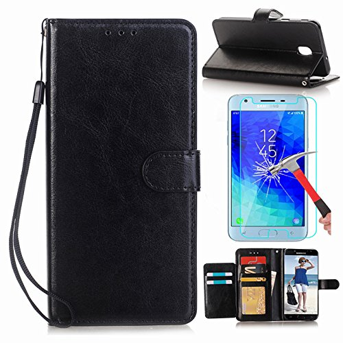 Galaxy J7 2018 Case,Galaxy J7 Refine/J7 Top/J7 Star/J7 Aero/J7 Crown/J7 Aura/J7 Eon/J7 V 2nd Gen Case with Screen Protector, I VIKKLY [Kickstand] PU Leather Flip Wallet with Card Slot Case (Black) (Nano Gen Screen 2nd)