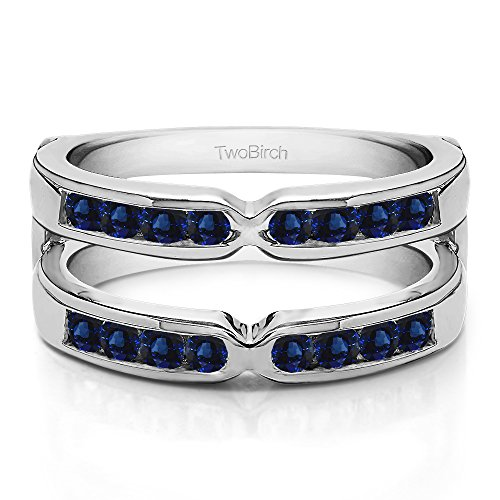 0.48 ct. Sapphire X Design Jacket Ring in Silver (1/2 ct) (Size 3 to 15 in 1/4 Sizes) by TwoBirch