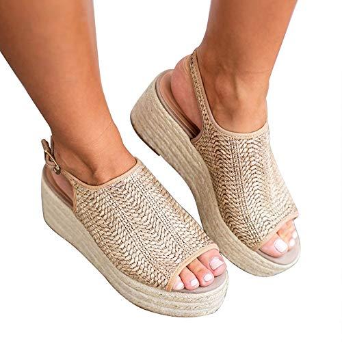Blivener Espadrille Wedge Sandals Casual Summer Peep Toe Slingback Platform Sandals Shoes BEIGE42 (10)