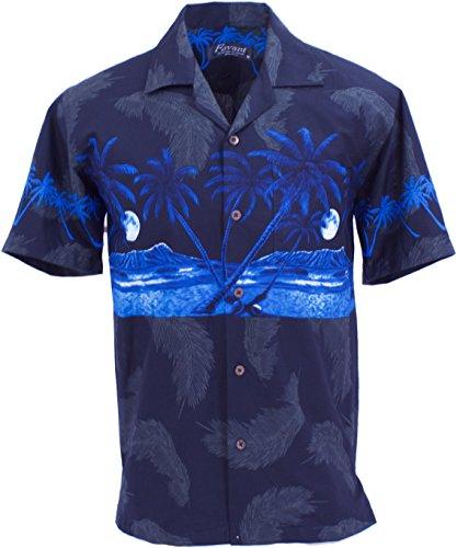 Tropical Luau Beach Palm Tree Print Mens Hawaiian Aloha Shirt