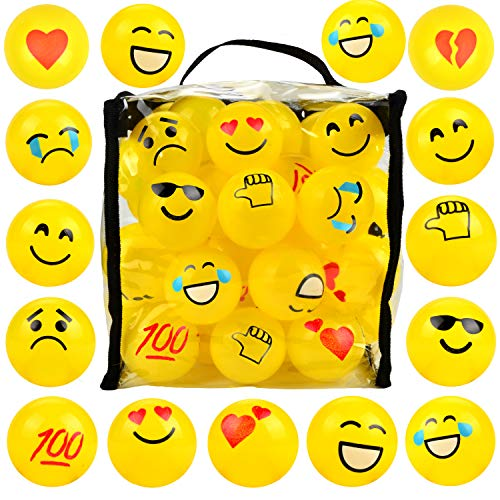 Youngever 60 Pack Pit Balls, Phthalate Free BPA Free Crush Proof Plastic Ball, Bright Colors Ball Pit, Fun and Educational (Yellow Emoji)