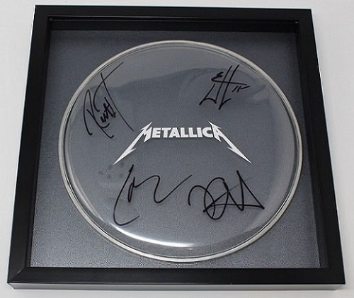 (Metallica Death Magnetic James Hetfield Lars Ulrich Kirk Hammett Robert Trujillo Band Group Signed Autographed Drumhead Framed Display Loa)